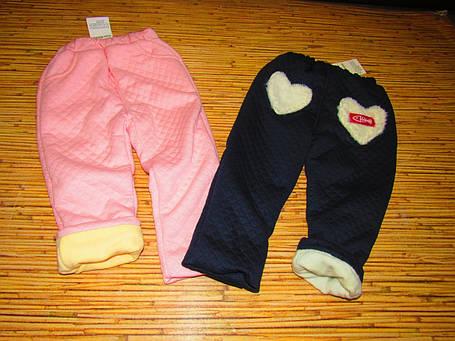 Штаны детские утепленные на девочку зима на плюше розовые, фото 2