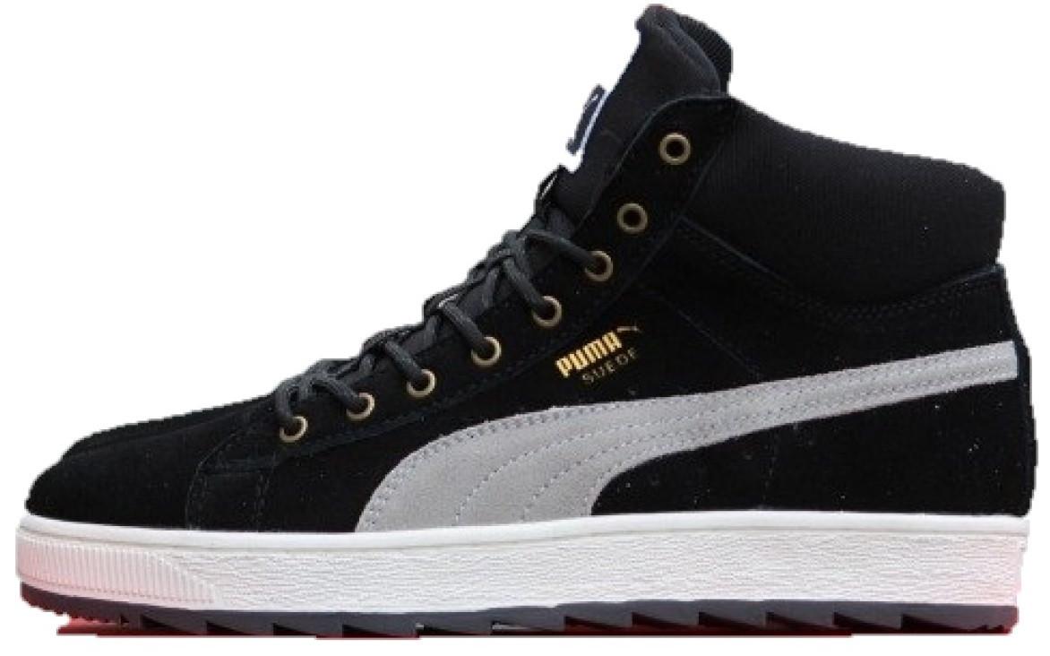 57cb61dd66c9 Зимние мужские кроссовки Puma Suede Black White (пума суеде, черные) внутри  мех -