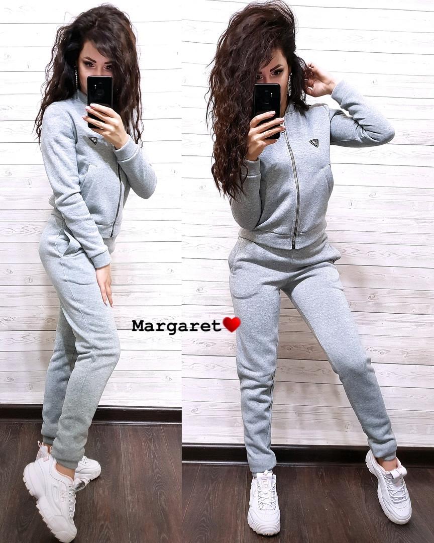 61495c0a Теплый спортивный костюм на молнии с флисом, серый - Интернет-магазин