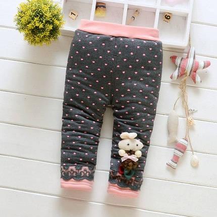 Штаны лосины детские утепленные на девочку зима синтепон+плюш , фото 2