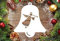 """Новогодний декор, резная игрушка """"Колокол с ангелом"""" из пенопласта, 20*2 см, 30*2 см, 40*2 см"""