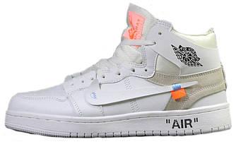 Мужские Зимние Кроссовки Nike Air Jordan 1 Retro х Off White Белые ( На меху )