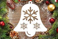"""Новогодний декор, резная игрушка """"Колокол со снежинками"""" из пенопласта, 20*2 см, 30*2 см, 40*2 см"""