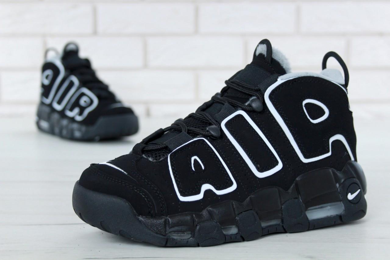 Зимние кроссовки Nike Air More Uptempo реплика ААА+ (нат. замша с мехом) размер 45-46 черный (живые фото), фото 1