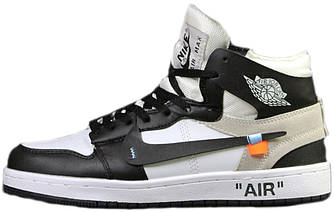Мужские Зимние Кроссовки Nike Air Jordan 1 Retro Black White х Off White Черные с белым ( На меху )
