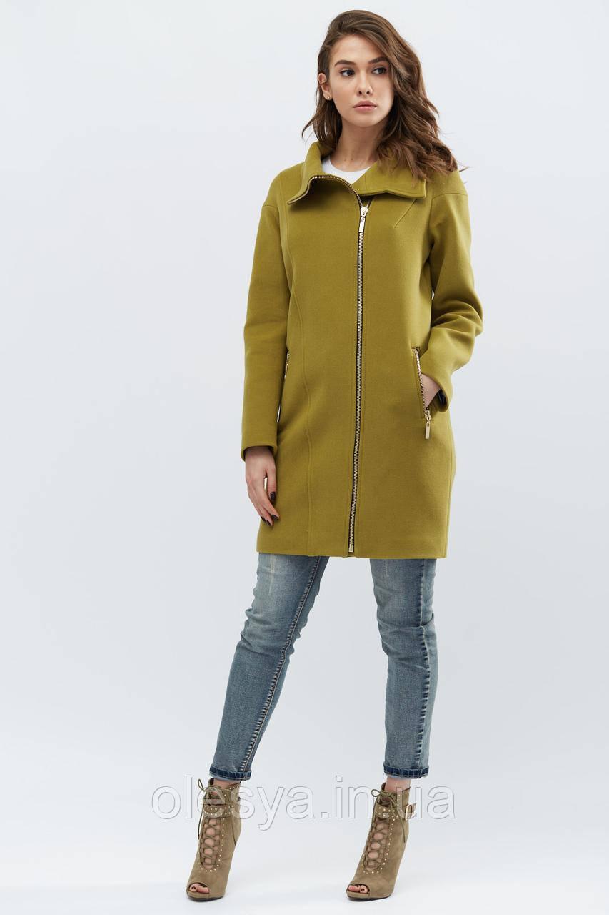 Пальто женское демисезонное ТМ x-woyz Цвет  Хаки, Размер 44