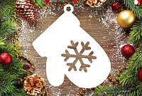 """Новогодний декор, резная игрушка """"Варежка, рукавица со снежинкой"""" из пенопласта, 20*4 см, 30*4 см, 40*4 см"""
