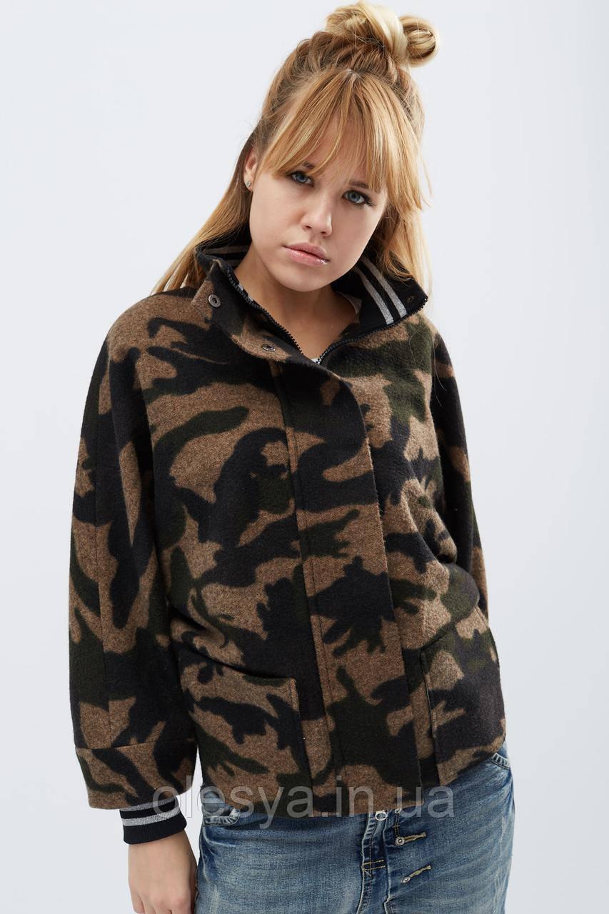 Пальто женское укороченное ТМ x-woyz Цвет Хаки, размеры 42- 48