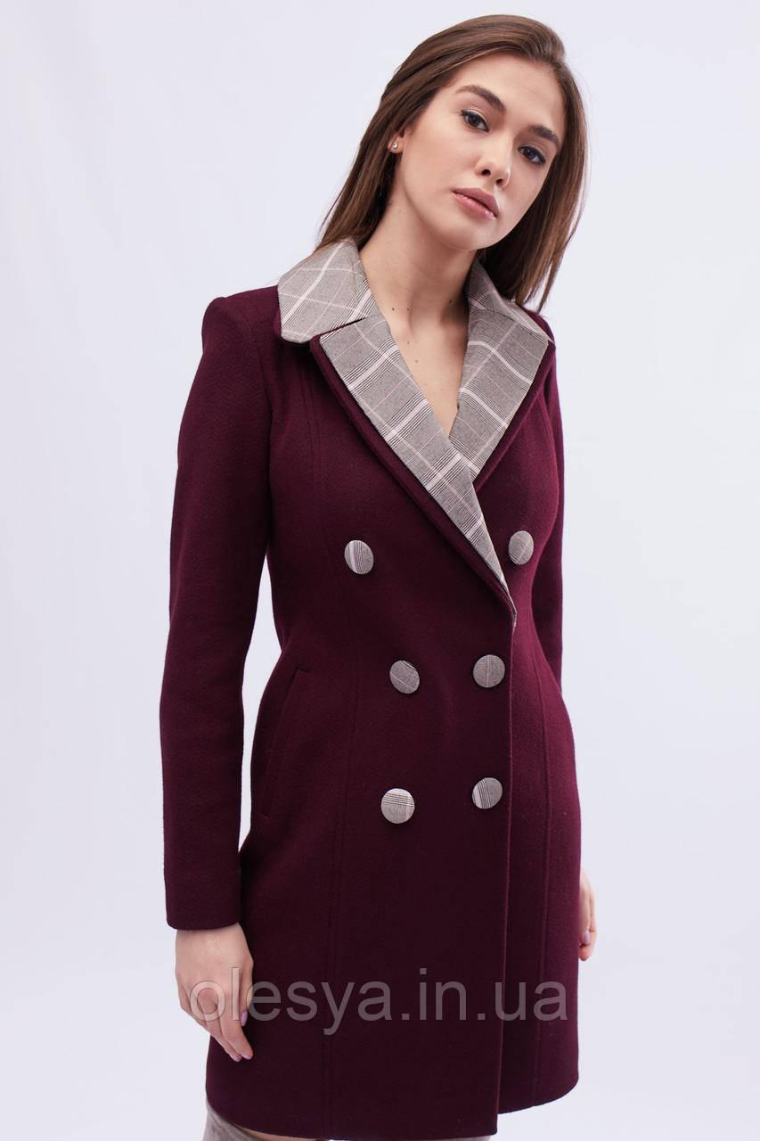 Пальто женское демисезонное x-woyz цвет Марсала, размеры 42 48