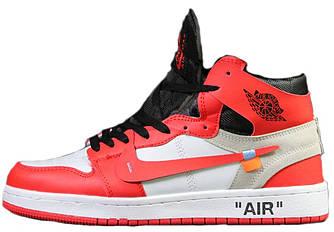 Мужские Зимние Кроссовки Nike Air Jordan 1 Retro х Off White Red White ( На меху )