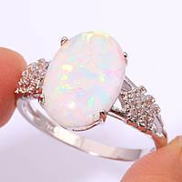 Огненный опал шикарное кольцо 18 размер с опалом в серебре 18 размер, фото 1