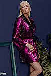 Платье-пиджак малинового цвета с поясом, фото 2
