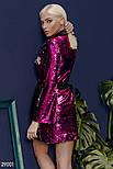 Платье-пиджак малинового цвета с поясом, фото 3