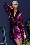 Платье-пиджак малинового цвета с поясом, фото 5