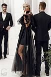 Черное платье-макси с воланами, фото 3