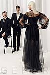 Черное платье-макси с воланами, фото 4