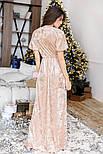 Бежевое платье-макси из бархата, фото 5
