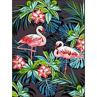 Картина раскраска по номерам на холсте 30*40см Babylon VK187 Фламинго в цветах