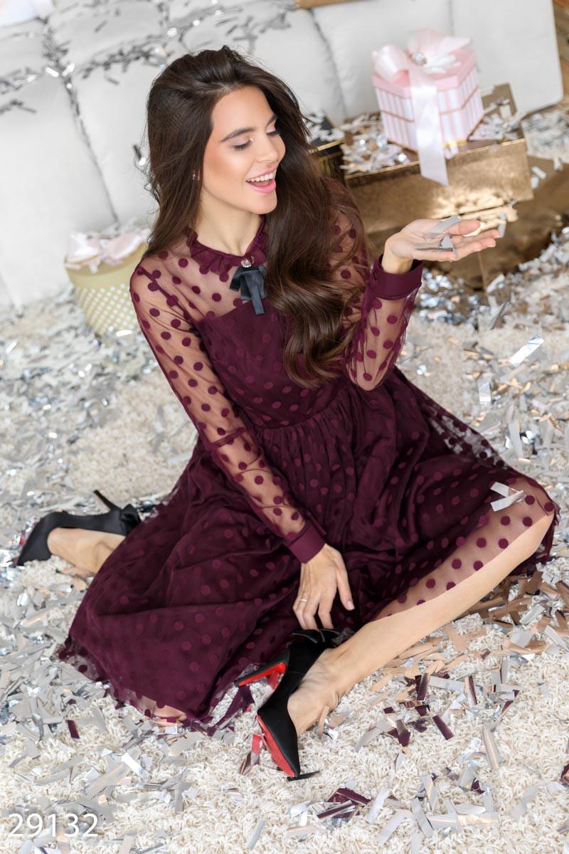Расклешенное платье-миди цвета марсала