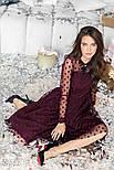 Расклешенное платье-миди цвета марсала, фото 2