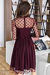 Расклешенное платье-миди цвета марсала, фото 5