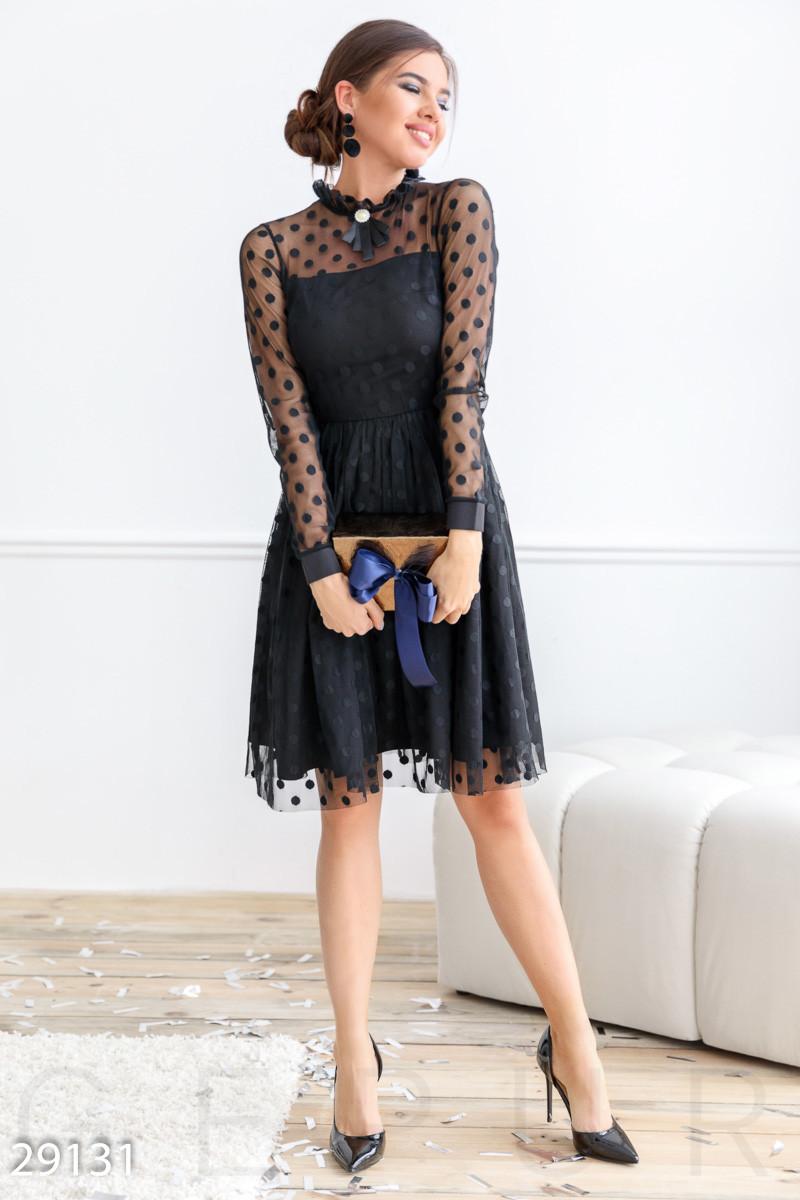 Расклешенное платье-миди черного цвета