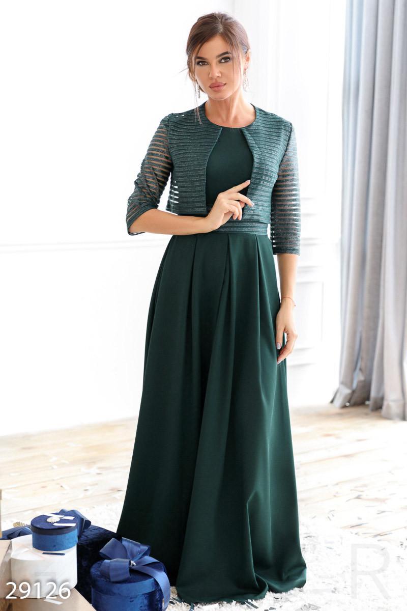 Платье-макси изумрудного цвета в комплекте с болеро