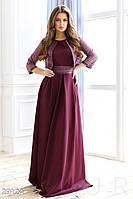 Платье-макси цвета марсала в комплете с болеро