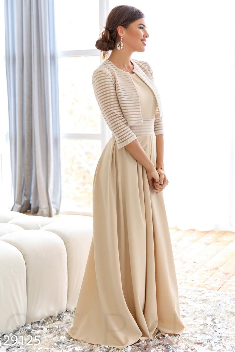 Платье-макси бежевого цвета в комплекте с болеро