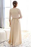 Платье-макси бежевого цвета в комплекте с болеро, фото 4