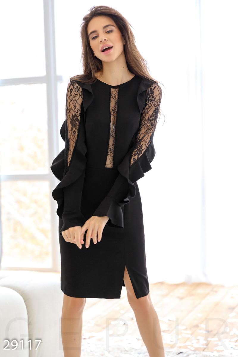 Стильное платье-миди черного цвета