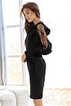 Стильное платье-миди черного цвета, фото 2