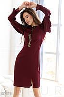 Стильное платье-миди цвета марсала