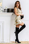 Кожаное платье-мини золотистого цвета, фото 2
