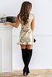 Кожаное платье-мини золотистого цвета, фото 3
