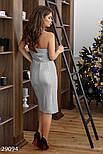 Облегающее вечернее платье серебристого цвета с разрезом, фото 3