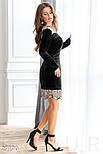 Стильное платье-мини черного цвета с кружевом, фото 2