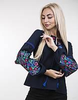 Элегантная вышитая блузка с ярким цветочным узором темно-синяя, фото 1