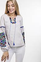 Вышитая женская блузка с красивым орнаментом светло-серая, фото 1