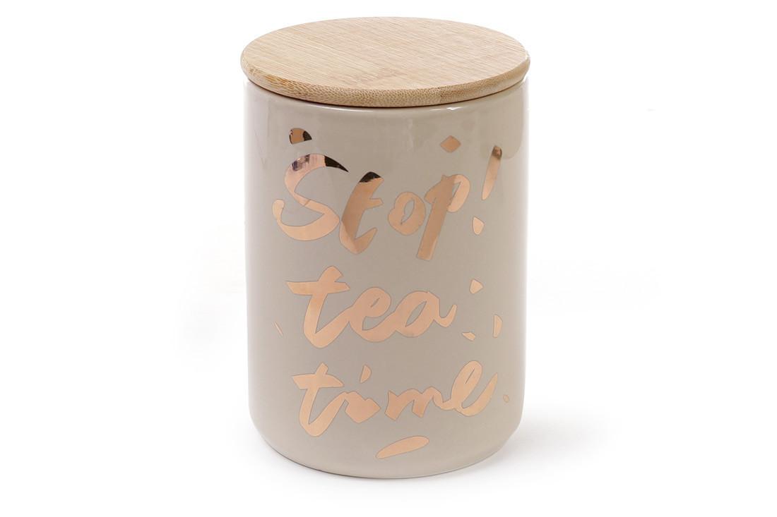 Банка фарфоровая с бамбуковой крышкой Tea time цвет - кремовый с золотом (945-132)