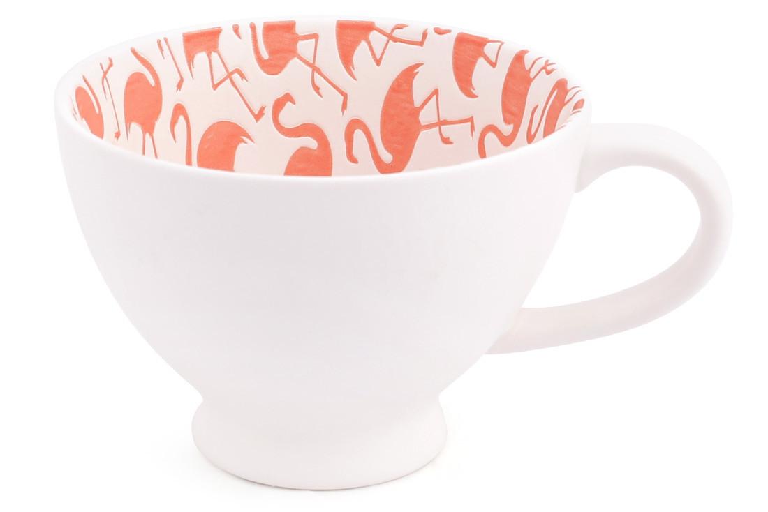 Кружка фарфоровая 300мл с тиснением Розовый фламинго, фарфор, в упаковке 2шт. (945-215)