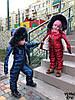 Утепленный зимний детский костюм металлик на синтепоне и меху: полукомбез и куртка с капюшоном с пышным мехом, фото 2