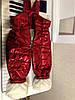 Утепленный зимний детский костюм металлик на синтепоне и меху: полукомбез и куртка с капюшоном с пышным мехом, фото 6