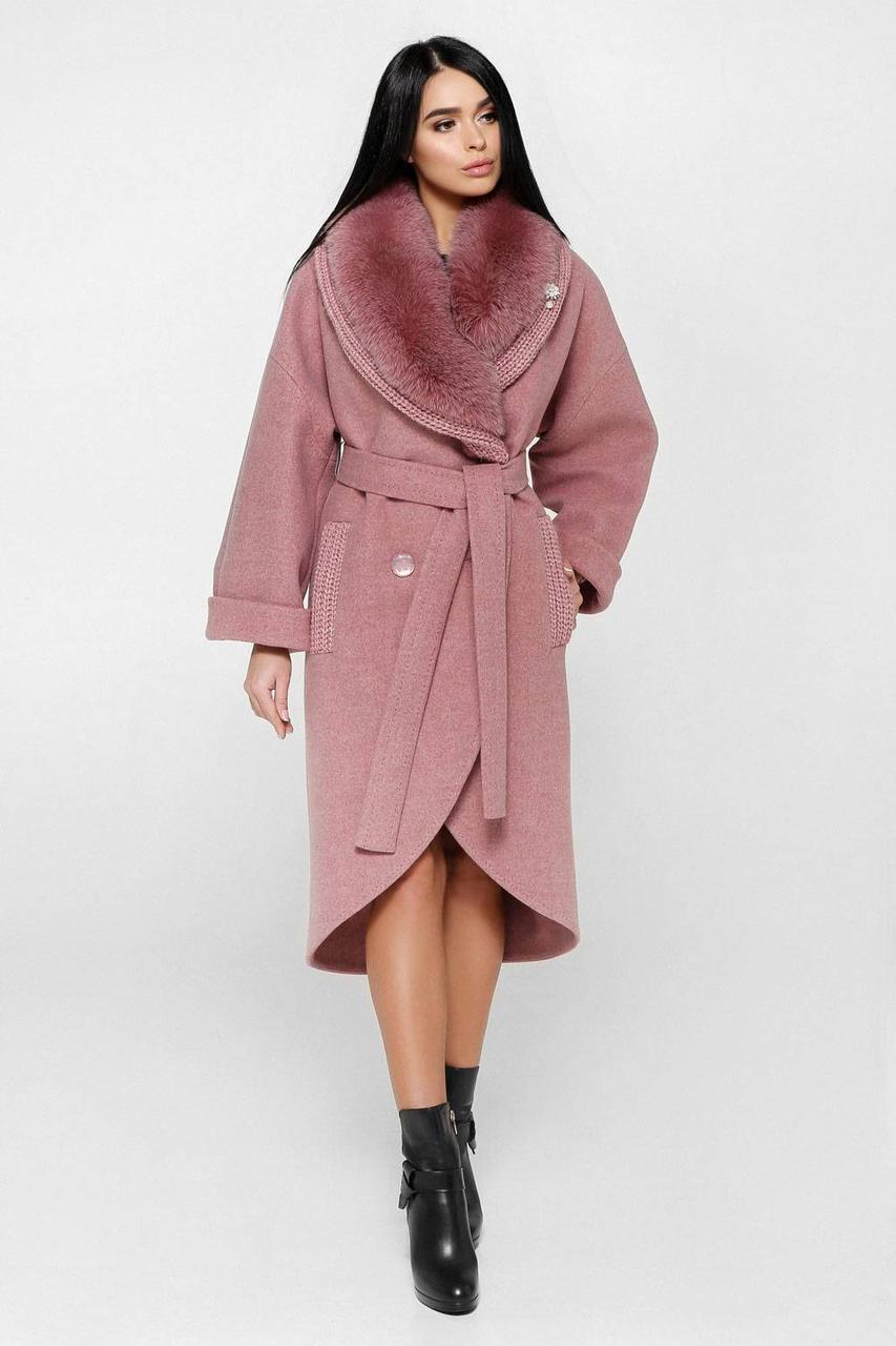 Розкішне зимове пальто П-1089 Шерсть пальтовая 113-1712 Тон 170