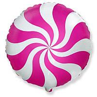 """Фольгированный шар круг Леденец малиновый 18"""" 401576 FlexMetal, фото 1"""