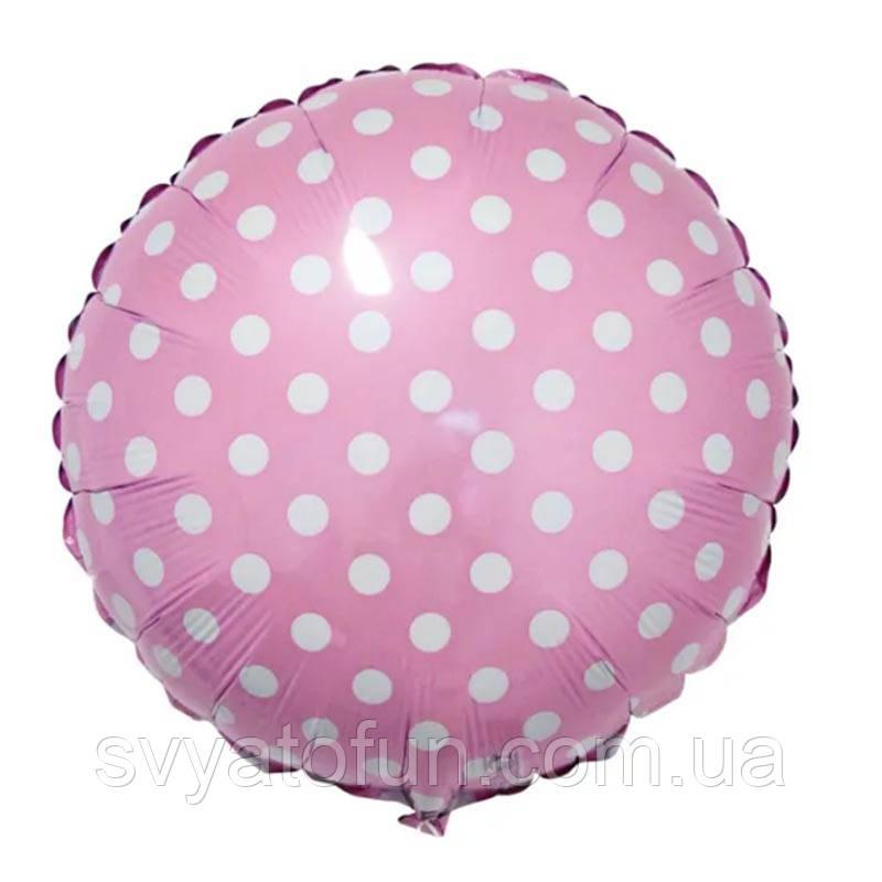 Фольгований круглий куля рожевий Горошок FlexMetal