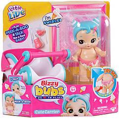 Little Live Интерактивная кукла Кудряшка с переноской Bizzy Bubs Peek-A-Boo Baby Swirlee