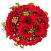 """Яркий красный букет невесты с герберами """"Рубиновая тайна"""""""