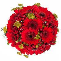 """Яркий красный букет невесты с герберами """"Рубиновая тайна"""", фото 1"""