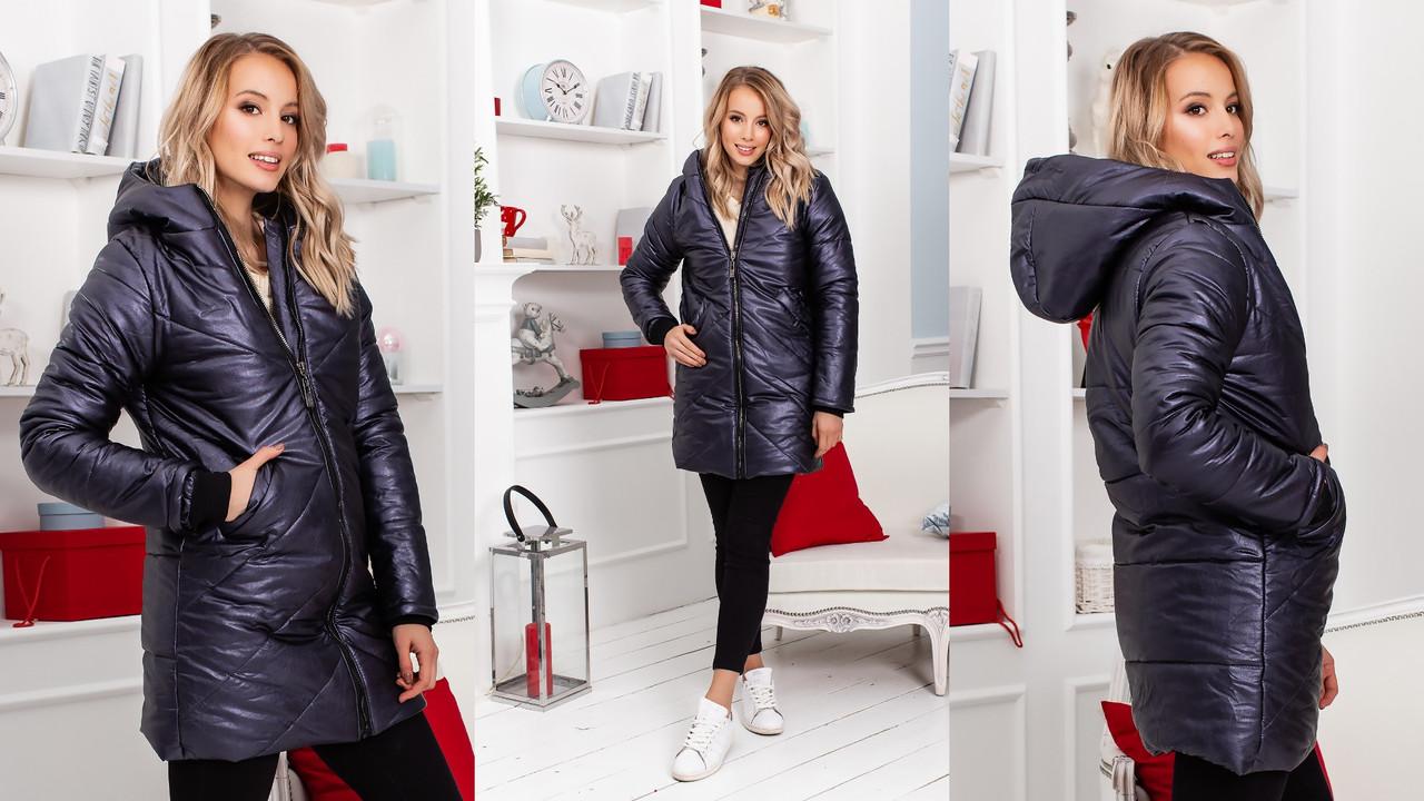 Женская теплая зимняя куртка пальто из кожзама металлик на синтепоне и меху с капюшоном
